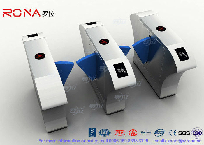 Stainless Steel Flap Barrier Gate Half Height Turnstiles Acrylic Blue Flap Barrier Gate Bi-Directional Turnstile