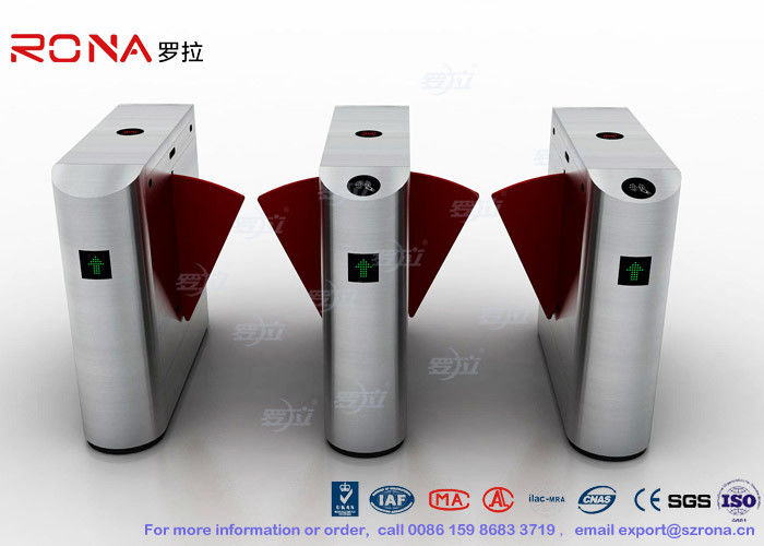 Electric IR Sensor Flap Barrier Gate , Card Swipe Metro Access Control Turnstile